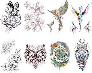 Yesallwas 8 Sheets Large Temporary Tattoo Sticker Fake Tattoos for men Girls Models,waterproof Long Lasting Body Art Makeup Sexy Realistic Arm tattoos -Rose flower,Tribal,Cross,angel, 5.9x8.26inche