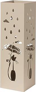 Baroni Home porte parapluie en métal au style moderne avec sculpture - support parapluie gris tourterelle avec crochet et ...