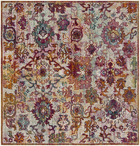 Safavieh Savannah Collection Premium Wool Square Area Rug, 7', Cream/Orange
