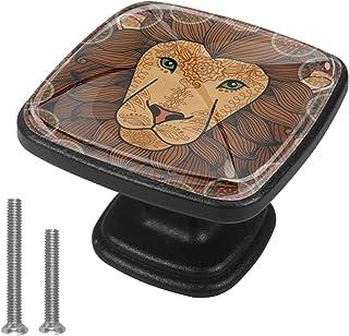 Lion Animal Boutons D'armoire 4 Pcs Poignés Poignée De Champignons Boutons D'aluminium Porte Poignées avec Vis pour Cabine...