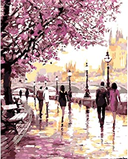 YEESAM ART New DIY Paint by Number Kits for Adults Kids Beginner - Cherry Blossoms Park, Romantic Flowers Street 16x20 inch Linen Canvas - Stress Less Number Painting Gifts (Park, with Frame)