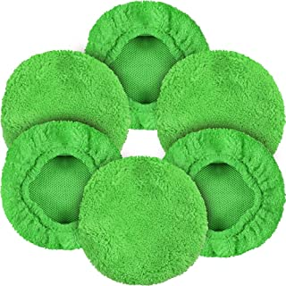 "eFuncar Car Microfiber Cloths for Windshield Cleaning Tool, Coral Fleece Replaceable Thickened Glass Cleaning Bonnets, Interior Auto Window Cleaner Wand Brush Washing Pads, Fit 5"", Green, 6 Pack"