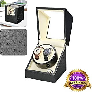 Double Watch Winder in Black Leather, High-Grade Japanese Mabuchi Motor, Battery (not Included) Powered or AC Adapter