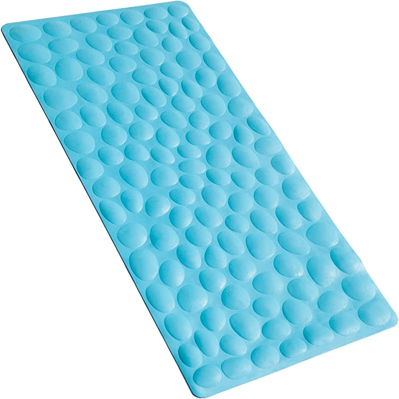OTHWAY Non Slip Bathtub Mat Soft Rubber Bathroom Bathmat With Strong Suction Cups Blue