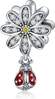 Rose Charm argent sterling 925Fleur Charm cœur Amour Charm anniversaire Charm pour bracelet à breloques Pandora