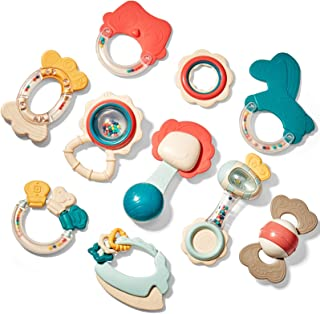 Baby Toys 3-6 Months Baby Rattle Teething Toys for Babies 0-6-12 Months 10PCS, Multisurface Texture Teethers with Storage ...