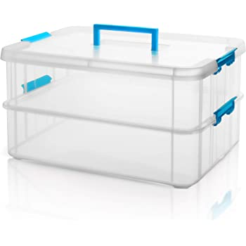 Kurtzy Transparent Plastic Portable Lockable 2 Layer Multi Utility Storage Organizer Box with Handle (35 x 26 x 19 cm)