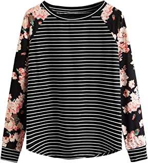 ROMWE Women's Long Sleeve Top Casual Floral Print T-Shirt Tee
