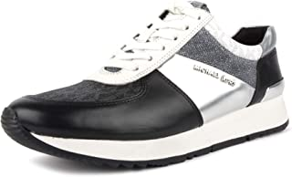 Michael Kors MK Womens Allie Trainer Leather (7.5, Black/Silver)