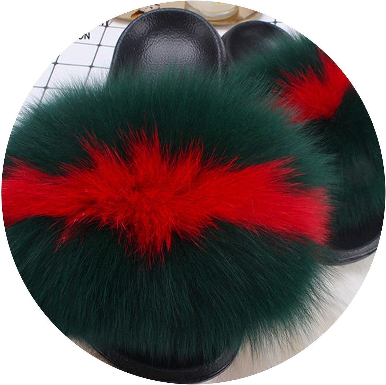 Zalin Fox Fur Slippers Slides Vogue Summer Extra Large Fur Flip Flop Sandals Plus Size shoes