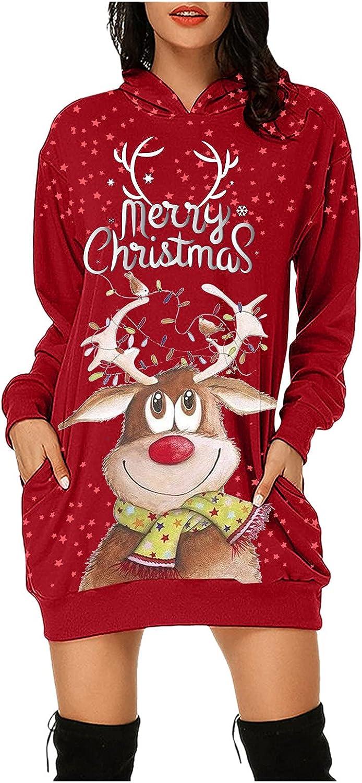 Plus Size Christmas Dress for Women Hooded Sweatshirts Dress wit