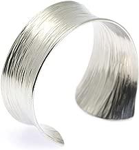 Tapered Bark Anticlastic Aluminum Silver Tone Bangle Bracelet By John S Brana Handmade Jewelry Hypoallergenic