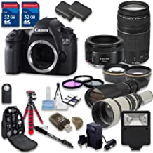 Canon EOS 6D Digital SLR Camera Wi-Fi Enabled with Canon EF 50mm f/1.8 STM Lens + Canon EF 75-300mm f/4-5.6 III Lens + 500mm f/8 Preset Lens + 650-1300mm f/8-16 Lens - International Model