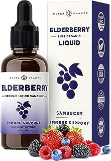 Organic Elderberry Syrup Liquid Extract for Kids & Adults - Sugar-Free Vegan Sambucus Nigra Antioxidant Drops Supplement -...