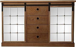 SuskaRegalos-Mueble Aparador Madera C/4 Cajones Y 2 Puertas Correderas_120x35x75cm-madera:DM+Fresno
