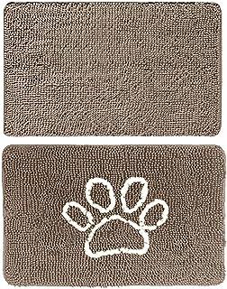 Gorilla Grip Original Indoor Durable Chenille Doormats, 48x30 Beige and 24x17 Paw Beige Ivory, 2 Item Bundle