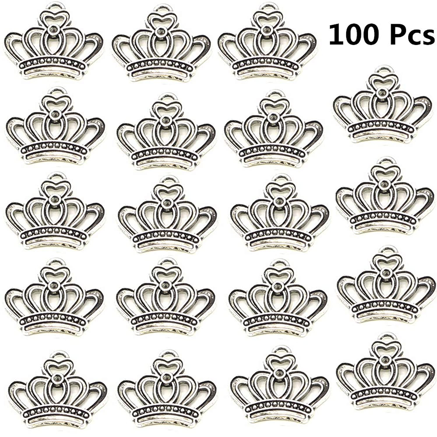 Xinhongo 100pcs Vintage Antique Silver Alloy Crown Shape Charms Pendant Connector Jewelry Findings for Jewelry Making and Crafting Necklace Bracelet Pendant DIY Accessaries,23x18mm (Silver Crown) aqrrpj7508685