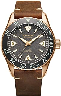 Eterna Men's KonTiki Diver Limited Edition 44mm Leather Band Metal Case Automatic Watch 1291-78-50-1422