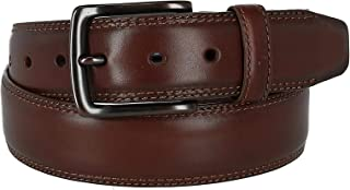 Columbia Men's Double Stitch Leather Belt with Copper Tone Buckle