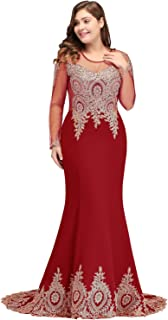 2019 Plus Size Long Sleeve Mermaid Prom Evening Dresses Formal for Women