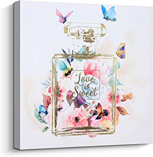 Pi Art Trendy Wall Art Gold Perfume Bottle with Pink Blooming Flower and Butterflies Canvas Print Wall Decor for Women's Bedroom (24''x24'', Stretched on Wood)