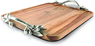 Vagabond House Pewter Olive Branch Handle Serving Tray Acacia Wood 23