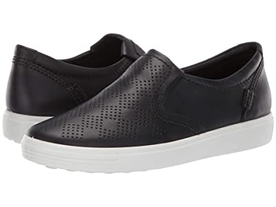 ECCO Soft 7 Casual Slip-On (Black Cow Nubuck) Women