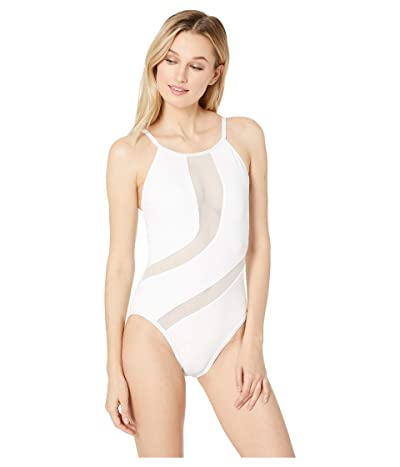 La Blanca Gold Mine High Neck One-Piece (White) Women