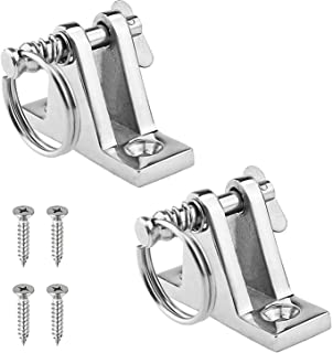 Amadget 2 Pack Bimini Top 90°Deck Hinge with Removable Pin, 316 Stainless Steel Marine Boat Hinge Mount Bimini Top Fitting Hardware