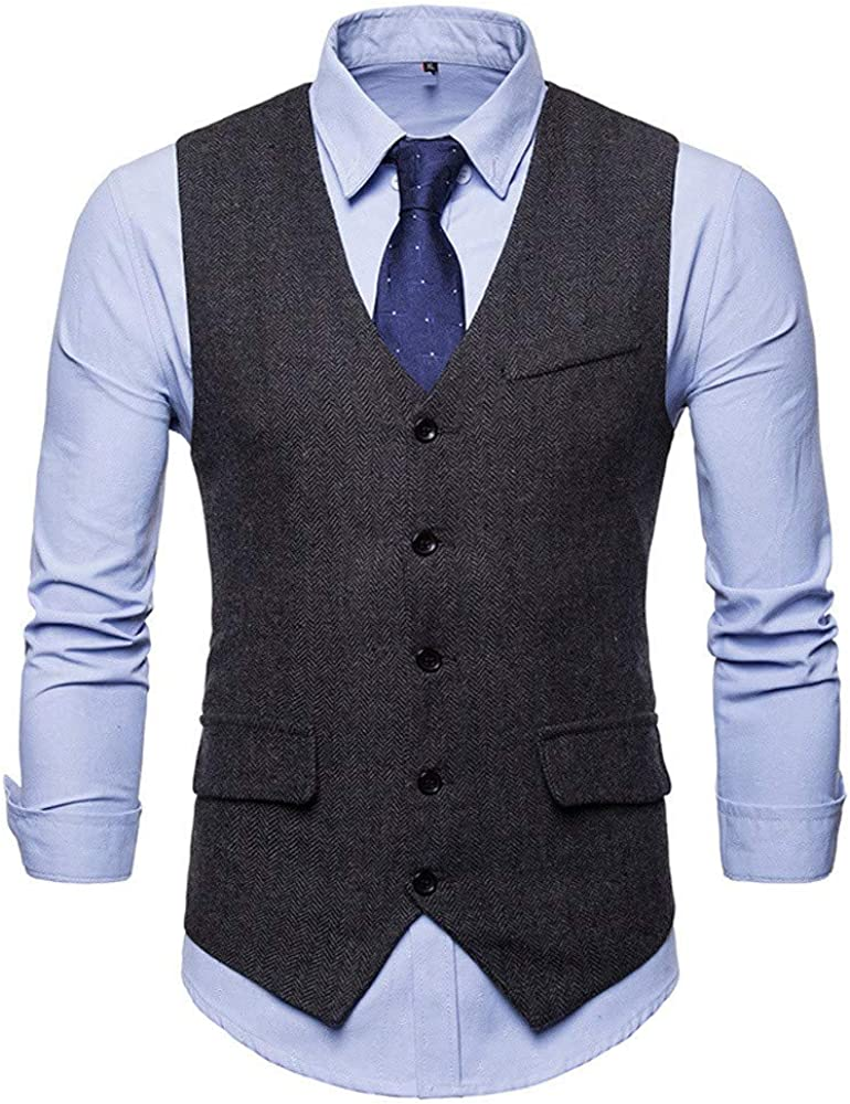 iLXHD Wedding Formal Bussiness Solid Tuxedo Suit Waistcoat Vest Jacket Top Coat(Black 3,M)