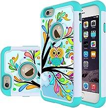 iPhone 5S Case, iPhone 5 Case,iPhone SE Case, MicroP Hybrid Dual Layer Silicone Plastic Armor Defender Phone Case Cover for Apple iPhone SE/5S/5 (Armor Green Owl)