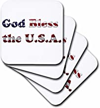 3dRose cst_192455_1 Text Art with God Bless The USA in The Pattern of The American Flag-Soft Coasters, Set of 4