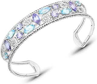 Bonyak Jewelry Genuine Marquise Tanzanite and Swiss Blue Topaz Bracelet in Sterling Silver