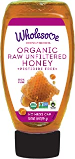 Wholesome Organic Raw Unfiltered Honey, Pesticide Free, Fair Trade, Non GMO & Non Glyphosate, 16 Ounce Squeeze Bottle (Pac...