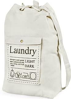 hblife Laundry Bag Backpack Spacious Drawstring Cotton Canvas with Strong Adjustable Shoulder Straps Washing Storage Organizer Travel Bag