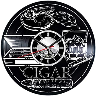 Smoking Cigar Wall Clock Made of Vinyl Records - Stylish Clock and Amazing Gifts Idea – Unique Home Decor – Personalized Presents for Men Women Kids – Great for Living Room Bedroom Kitchen
