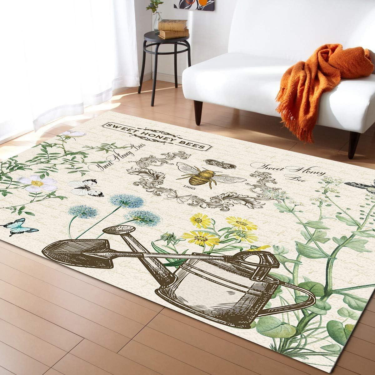 ARTSHOWING Garden Rectangular Area Rug 5' Great interest Large Indoor and Special sale item 8' x