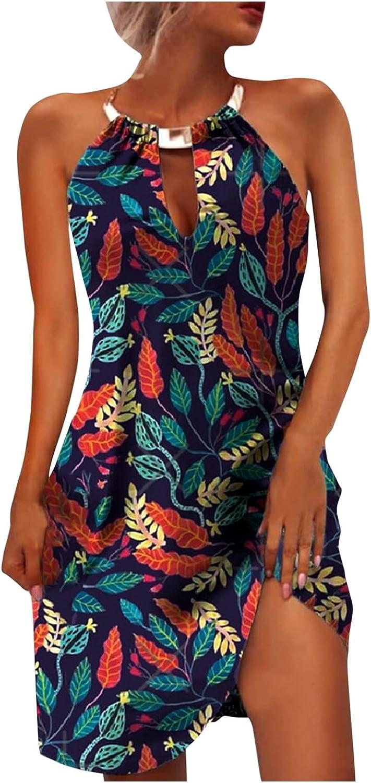 Summer Dresses for Women 2021 Halter Floral Printed Sleeveless Mini Casual Formal Cocktail Dress Short
