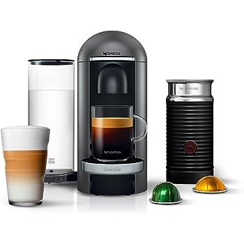 Nespresso VertuoPlus Deluxe Coffee and Espresso Machine Bundle with Aeroccino Milk Frother by Breville, Titan
