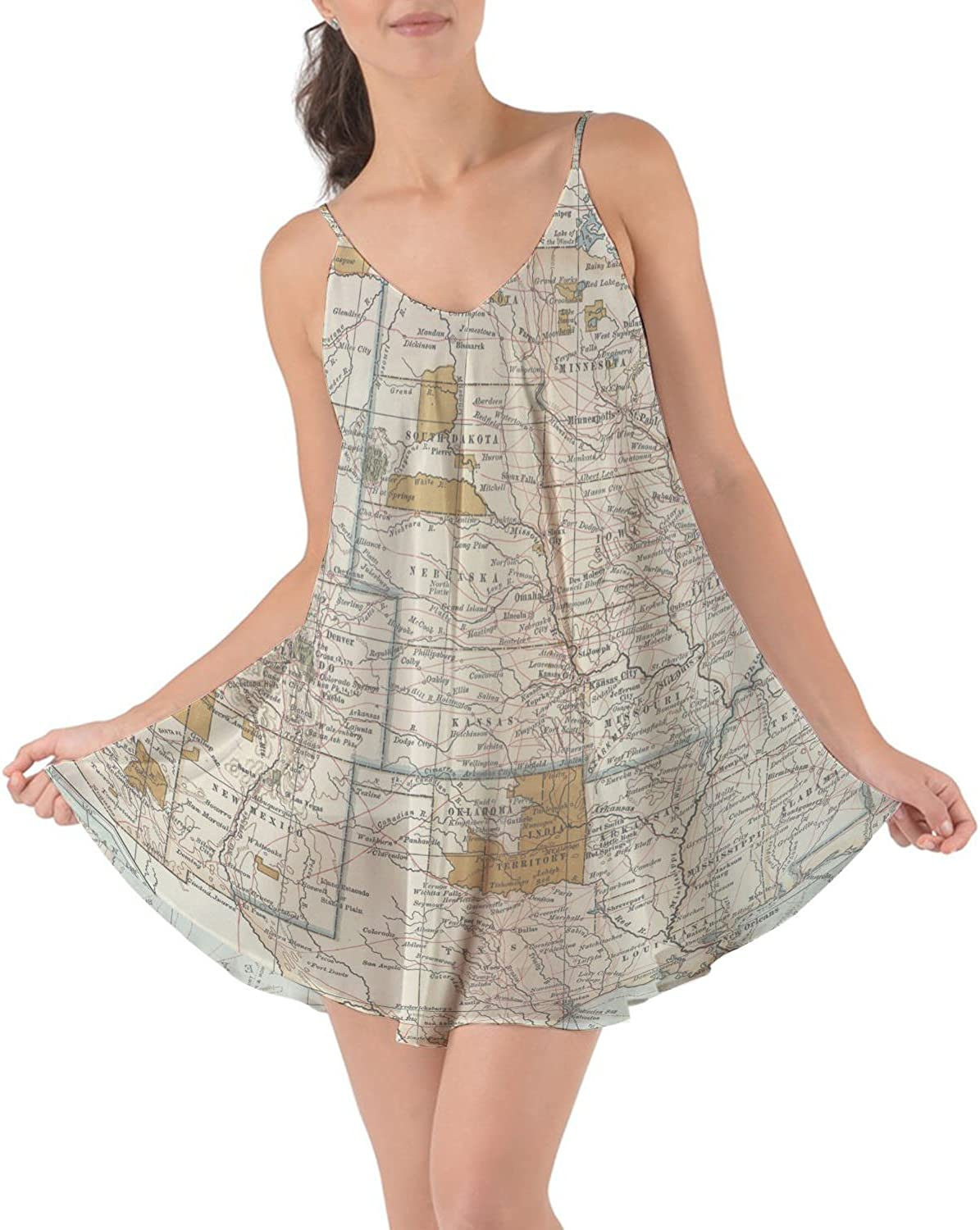 Rainbow Rules Antique United States Map Beach Cover Up Dress