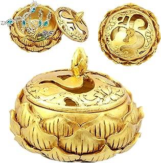 Ebros Gift Auspicious Golden Buddha Ohm Carved Padma Lotus Round Jewelry Box Figurine 3.25
