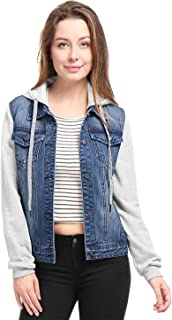 Allegra K Women's Layered Drawstring Hood Denim Jacket w Pockets