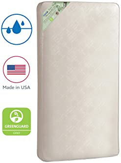 "Kolcraft Pure Sleep Therapeutic 150 Waterproof Toddler & Baby Crib Mattress - 150 Extra Firm Coils, 51.7"" x 27.3"""