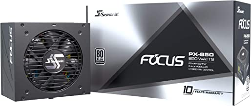 Seasonic FOCUS PX-850, 850W 80+ Platinum Full-Modular, Fan Control in Fanless, Silent, and Cooling Mode, Perfect Power Sup...