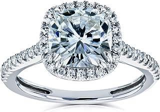 Cushion Moissanite and Diamond Halo Engagement Ring 2 1/4 CTW 14k White Gold