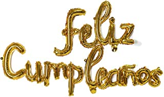Feliz Cumpleanos Gold Small Letters Conjoined Balloons Feliz Cumpleanos Gold Balloon Happy Birthday Balloons Birthday Bann...