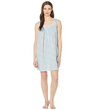 Eileen West Cotton Lawn Woven Sleeveless Short Chemise (White Ground/Watercolor Floral) Women