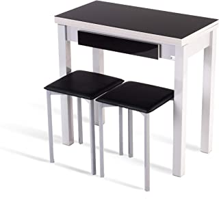 Portus Conjunto Romero - 1 Mesa Libro 80x40(80) Cristal + 2 taburetes (Negro)