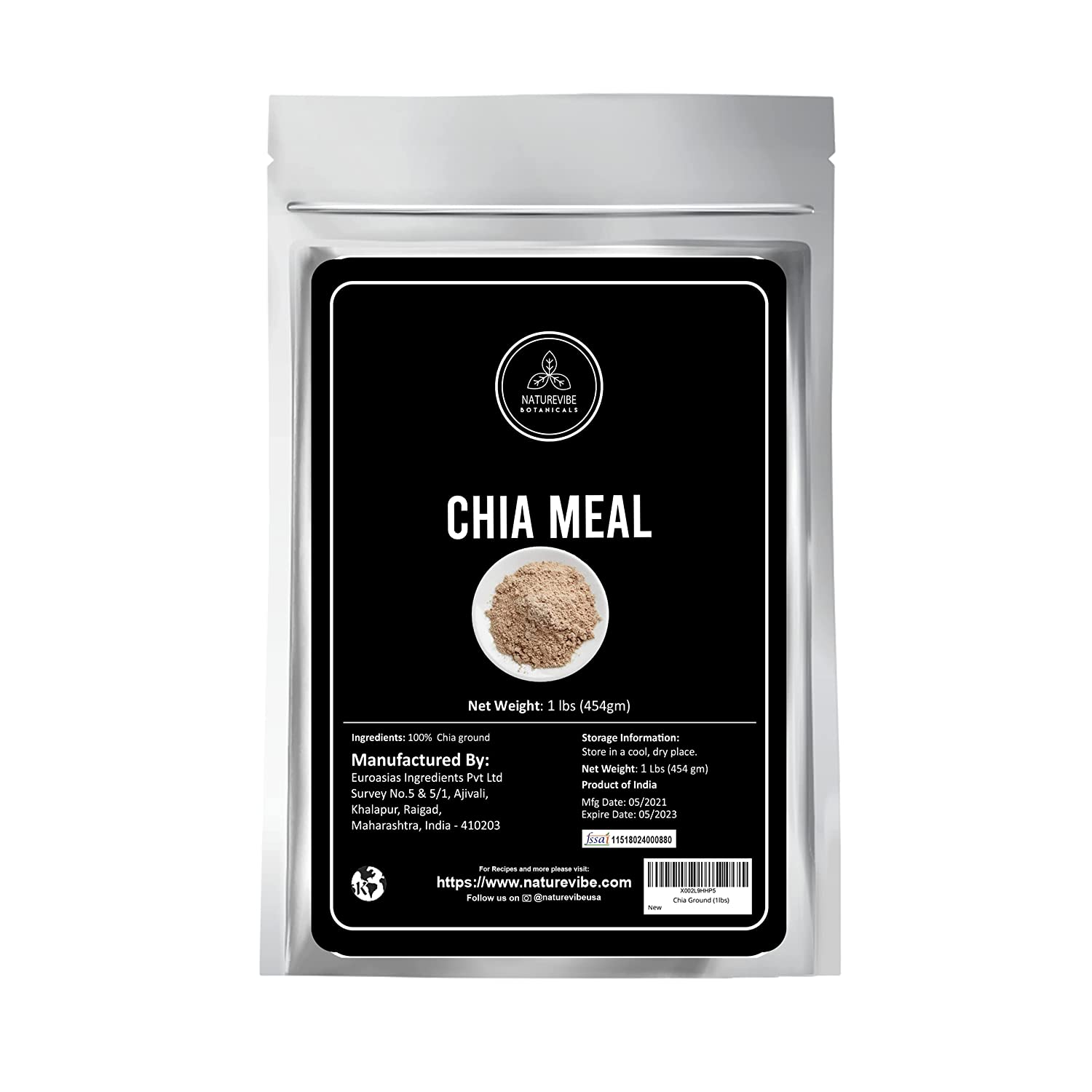 Naturevibe Botanicals Chia Meal Max 84% OFF Clearance SALE Limited time Ground Fr 1lb Seeds Keto