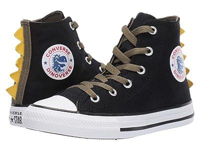 Converse Kids Chuck Taylor All-Star Dino Spikes Hi (Little Kid/Big Kid) (Black/Field Surplus/White) Girls Shoes